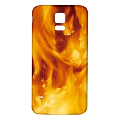 YELLOW FLAMES Samsung Galaxy S5 Back Case (White)