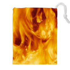 YELLOW FLAMES Drawstring Pouches (XXL)