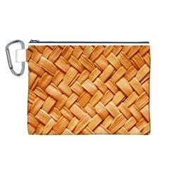WOVEN STRAW Canvas Cosmetic Bag (L)