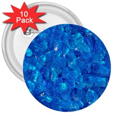 TURQUOISE GLASS 3  Buttons (10 pack)