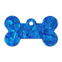 TURQUOISE GLASS Dog Tag Bone (Two Sides)