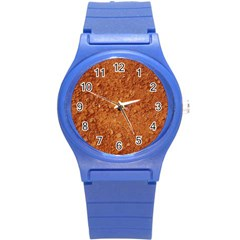 ORANGE CLAY DIRT Round Plastic Sport Watch (S)
