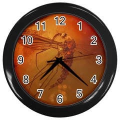 MOSQUITO IN AMBER Wall Clocks (Black)