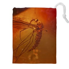 MOSQUITO IN AMBER Drawstring Pouches (XXL)