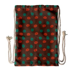 Distorted polka dots pattern Large Drawstring Bag