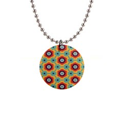 Stars and honeycomb pattern 1  Button Necklace
