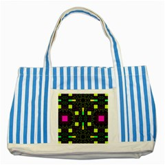 Triangles and squares Striped Blue Tote Bag