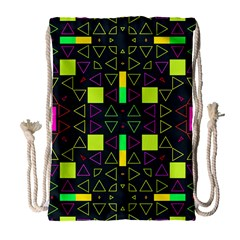 Triangles And Squares Large Drawstring Bag