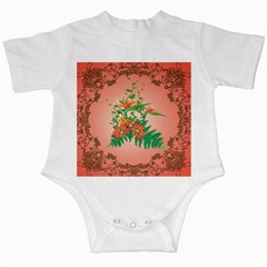 Awesome Flowers And Leaves With Floral Elements On Soft Red Background Infant Creepers