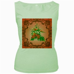 Awesome Flowers And Leaves With Floral Elements On Soft Red Background Women s Green Tank Tops