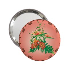 Awesome Flowers And Leaves With Floral Elements On Soft Red Background 2.25  Handbag Mirrors