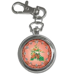 Awesome Flowers And Leaves With Floral Elements On Soft Red Background Key Chain Watches