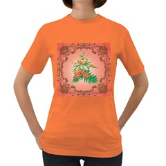 Awesome Flowers And Leaves With Floral Elements On Soft Red Background Women s Dark T-Shirt