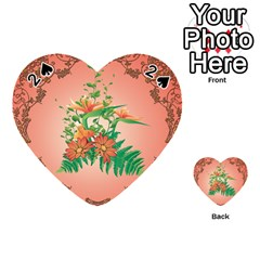 Awesome Flowers And Leaves With Floral Elements On Soft Red Background Playing Cards 54 (heart)