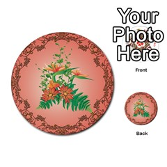 Awesome Flowers And Leaves With Floral Elements On Soft Red Background Multi-purpose Cards (Round)