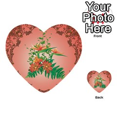 Awesome Flowers And Leaves With Floral Elements On Soft Red Background Multi-purpose Cards (Heart)