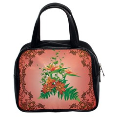 Awesome Flowers And Leaves With Floral Elements On Soft Red Background Classic Handbags (2 Sides)