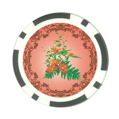 Awesome Flowers And Leaves With Floral Elements On Soft Red Background Poker Chip Card Guards (10 pack)