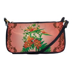 Awesome Flowers And Leaves With Floral Elements On Soft Red Background Shoulder Clutch Bags