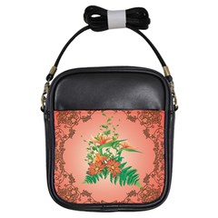 Awesome Flowers And Leaves With Floral Elements On Soft Red Background Girls Sling Bags