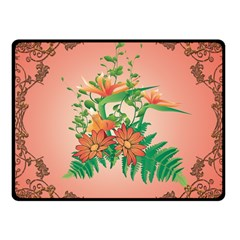 Awesome Flowers And Leaves With Floral Elements On Soft Red Background Fleece Blanket (small)