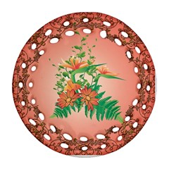 Awesome Flowers And Leaves With Floral Elements On Soft Red Background Round Filigree Ornament (2Side)