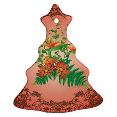 Awesome Flowers And Leaves With Floral Elements On Soft Red Background Christmas Tree Ornament (2 Sides)