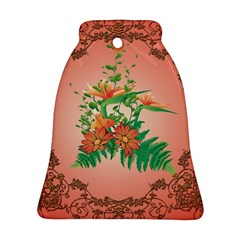 Awesome Flowers And Leaves With Floral Elements On Soft Red Background Bell Ornament (2 Sides)