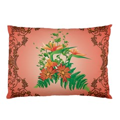 Awesome Flowers And Leaves With Floral Elements On Soft Red Background Pillow Cases (two Sides)