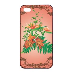 Awesome Flowers And Leaves With Floral Elements On Soft Red Background Apple iPhone 4/4s Seamless Case (Black)