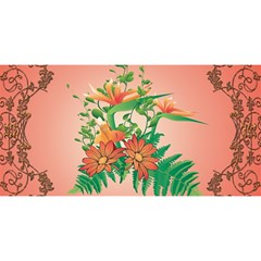 Awesome Flowers And Leaves With Floral Elements On Soft Red Background You Are Invited 3d Greeting Card (8x4)