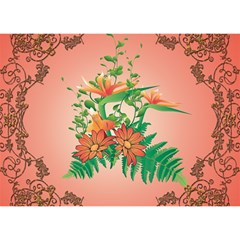 Awesome Flowers And Leaves With Floral Elements On Soft Red Background Birthday Cake 3d Greeting Card (7x5)