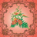 Awesome Flowers And Leaves With Floral Elements On Soft Red Background Congrats Graduate 3D Greeting Card (8x4)  Inside