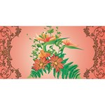 Awesome Flowers And Leaves With Floral Elements On Soft Red Background Congrats Graduate 3D Greeting Card (8x4)  Back