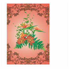 Awesome Flowers And Leaves With Floral Elements On Soft Red Background Large Garden Flag (Two Sides)