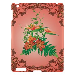 Awesome Flowers And Leaves With Floral Elements On Soft Red Background Apple iPad 3/4 Hardshell Case