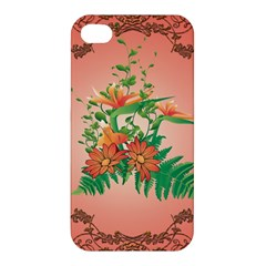 Awesome Flowers And Leaves With Floral Elements On Soft Red Background Apple iPhone 4/4S Premium Hardshell Case