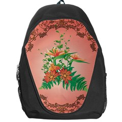 Awesome Flowers And Leaves With Floral Elements On Soft Red Background Backpack Bag