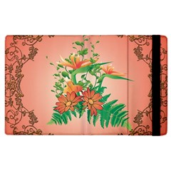 Awesome Flowers And Leaves With Floral Elements On Soft Red Background Apple iPad 2 Flip Case