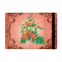Awesome Flowers And Leaves With Floral Elements On Soft Red Background Apple iPad Mini Flip Case