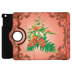 Awesome Flowers And Leaves With Floral Elements On Soft Red Background Apple iPad Mini Flip 360 Case