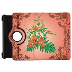 Awesome Flowers And Leaves With Floral Elements On Soft Red Background Kindle Fire HD Flip 360 Case