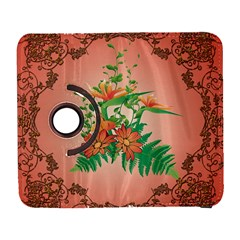 Awesome Flowers And Leaves With Floral Elements On Soft Red Background Samsung Galaxy S  III Flip 360 Case