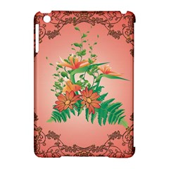Awesome Flowers And Leaves With Floral Elements On Soft Red Background Apple iPad Mini Hardshell Case (Compatible with Smart Cover)