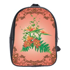 Awesome Flowers And Leaves With Floral Elements On Soft Red Background School Bags (xl)