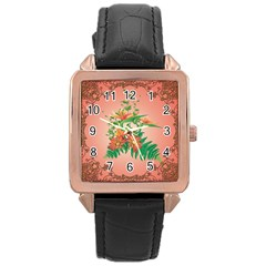 Awesome Flowers And Leaves With Floral Elements On Soft Red Background Rose Gold Watches