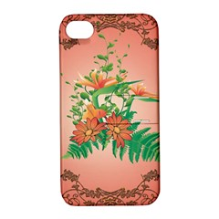 Awesome Flowers And Leaves With Floral Elements On Soft Red Background Apple iPhone 4/4S Hardshell Case with Stand