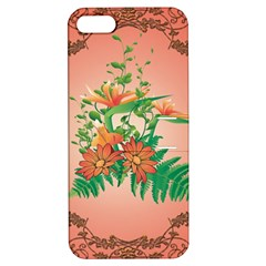 Awesome Flowers And Leaves With Floral Elements On Soft Red Background Apple iPhone 5 Hardshell Case with Stand
