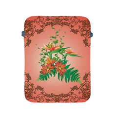Awesome Flowers And Leaves With Floral Elements On Soft Red Background Apple iPad 2/3/4 Protective Soft Cases