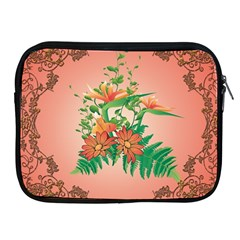 Awesome Flowers And Leaves With Floral Elements On Soft Red Background Apple iPad 2/3/4 Zipper Cases